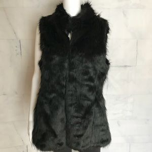 WHBM BLACK FAUX FUR VEST